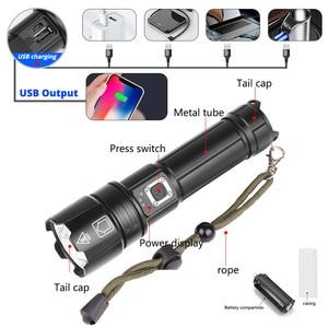 Image 4 - Taşınabilir Ultra güçlü XHP70 LED el feneri 18650 el feneri XLamp XHP50 USB şarj edilebilir taktik ışık 26650 yakınlaştırma meşale