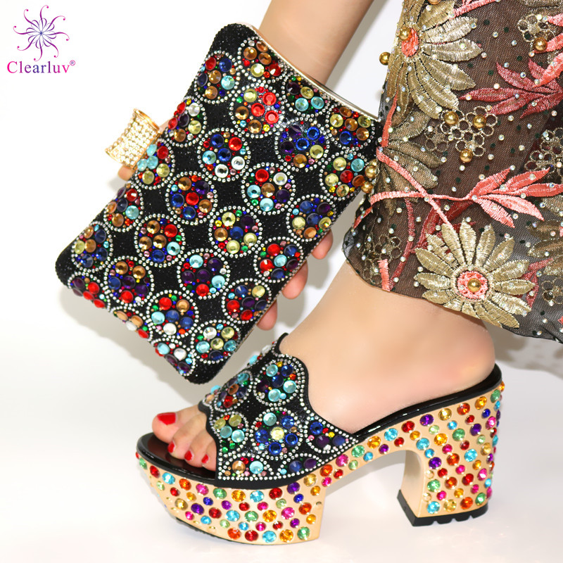 Black Color Matching Women Shoe And Bags Set Decorated With Rhinestone African Shoe And Bag Set For Party In Women Italy Shoes