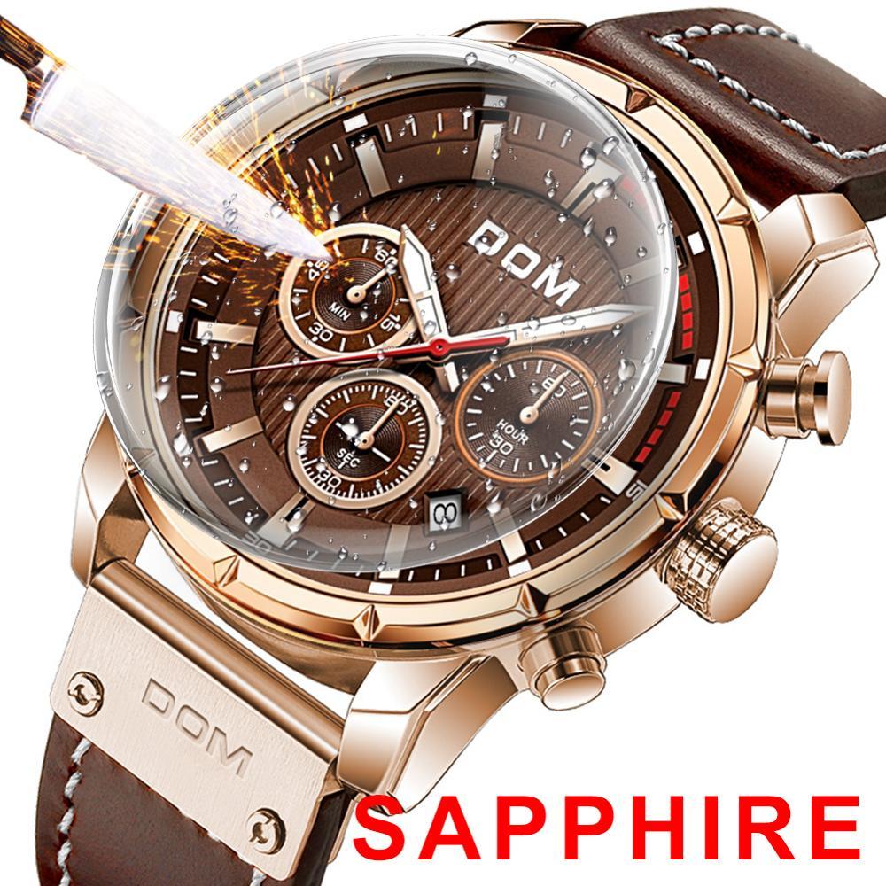DOM Sapphire Sport Watches for Men Top Brand Luxury Military Leather Wrist Watch Man Clock Chronograph Wristwatch M-1320GL-5M 1