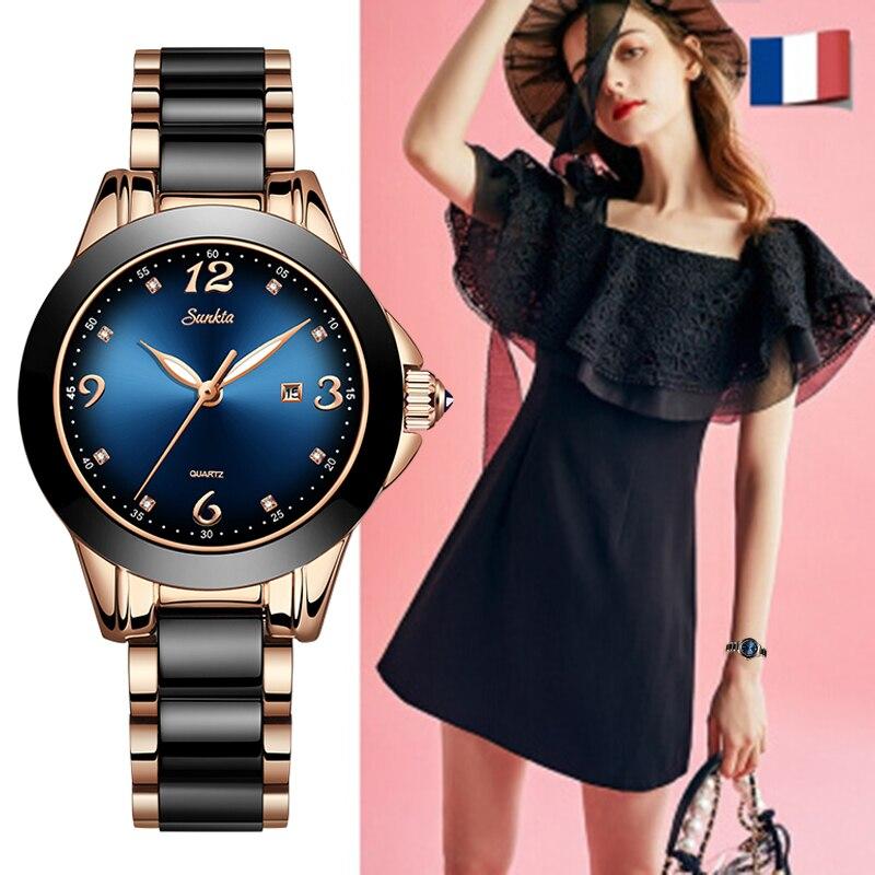 Relógios de Marca de Topo de Luxo Relógio do Esporte de Quartzo Relógio para Mulheres à Prova Sunkta Azul Mulheres Moda Relógios Senhoras Strass Cerâmica Pulseira d' Água