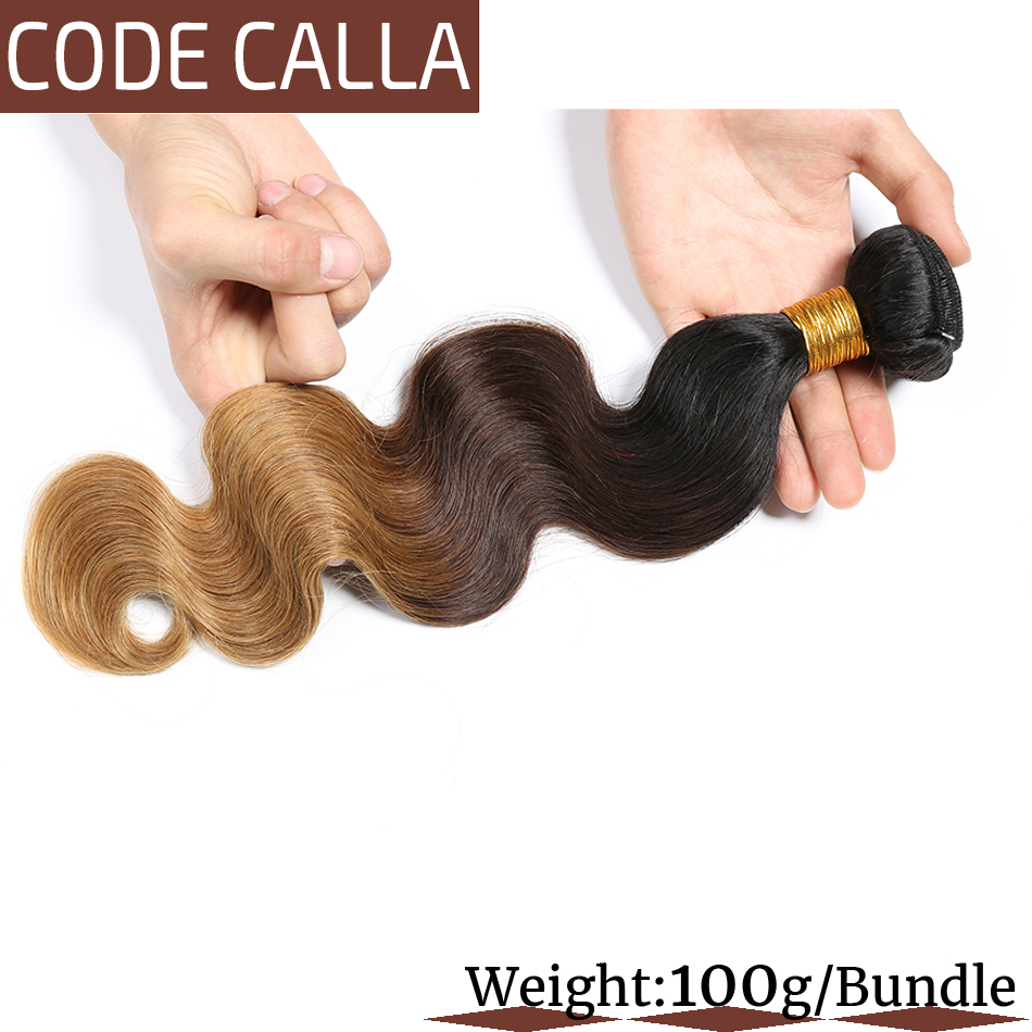 Код Calla Ombre цвет тела волна Связки с 4*4 Кружева Закрытие Необработанные бразильские необработанные девственные человеческие волосы Weft расширение - 3