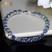 Pera moda feminino festa jóias multi cor grande redondo pedra de cristal natural prata esterlina link chain pulseiras para senhoras b040