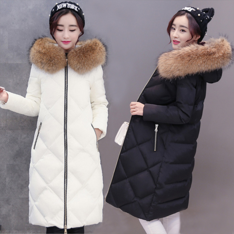 Winter Women Duck Down Coat Female Down Jacket Large Raccoon Fur Hood Elegant Korean Ladies Jakcets Warm Long Coat LW1446