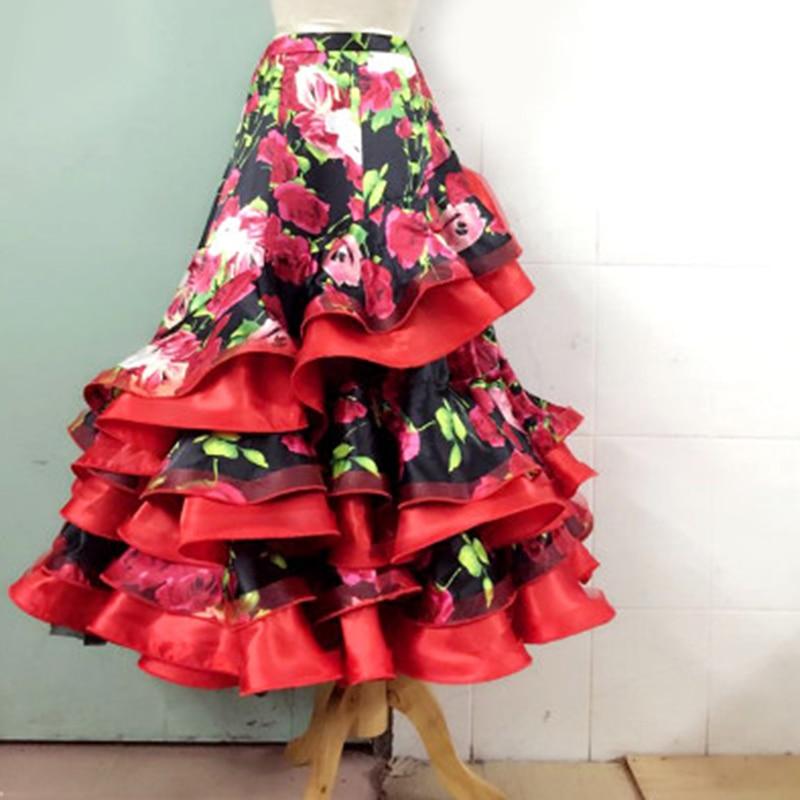 Flower Lotus Leaf Standard Ballroom Dance Skirt Waltz Tango Dancing Wear For Women Competition Long Skirts Customize Size DL5271