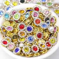 20Pcs Round Flower Rhinestones Buttons Flat Back Crystal Sewing Button For Shoes T-Shirts DIY Gold Sliver Base Crystal Button