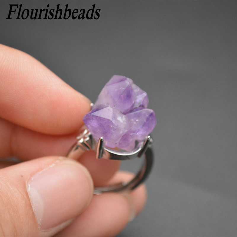 Best-selling Natural Amethyst Druzy Irregularl Shape Gemstone Rings Fashion Man Woman Party Jewelry Size Adjustable Gift