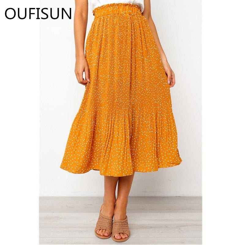 2020 Vintage Polka Dot Print Pleated Skirts Women Summer Sping Midi Bohemian Elegant High Waist A-line Sun Skirt Female