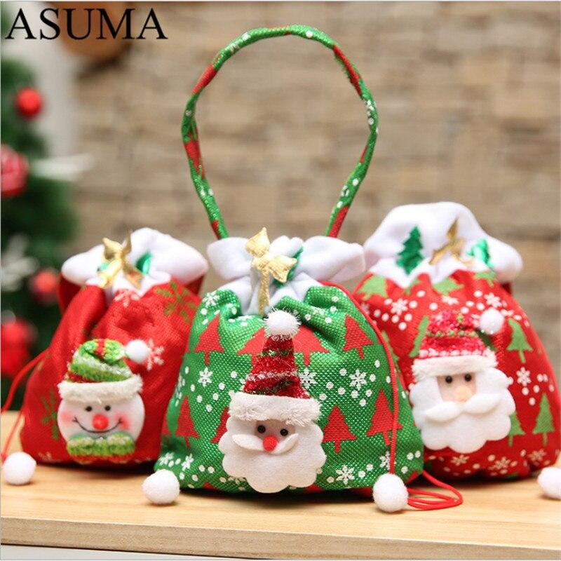 Christmas Kids Candy Bags Pouch Cotton Santa Claus Snowmen Xmas Gift Bag Children Bag Plush Drawstring Container Organizer Case