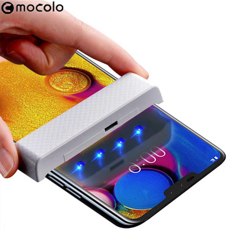 لهواوي ميت 30 واقي للشاشة موكولو سائل كامل لاصق ثلاثية الأبعاد منحني الأشعة فوق البنفسجية الزجاج المقسى لهواوي ميت 30 برو واقي للشاشة