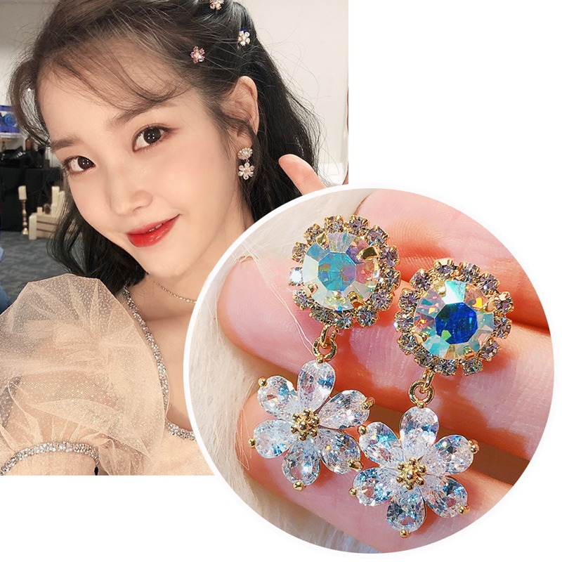 MENGJIQIAO New Korean TV Star Shiny Crystal Flower Petal Drop Earrings For Women Fashion Zircon Pendientes Jewelry Accessories