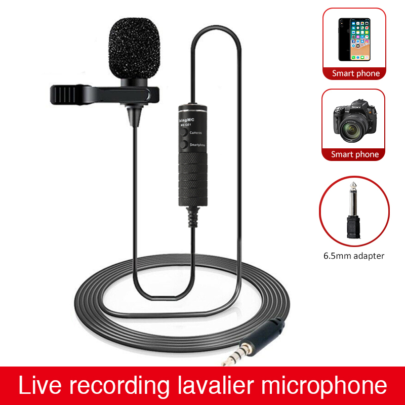 6m Clip-on Lavalier Microphone MB-Q01 Mini Audio 3.5mm Jack Collar Condenser Lapel Mic for recording Canon iPhone DSLR Cameras