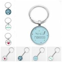 Hot! New Hot French Merci Maitresse Pattern Round Keyring Photo Glass Cabochon Charm Car Keychain Jewelry Gift