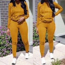 Спортивные костюмы для женщин, 2 предмета, женский спортивный костюм, длинный рукав, отверстие, карман, толстовки, штаны на шнурке, свободные топы, набор, Женский костюм# g3