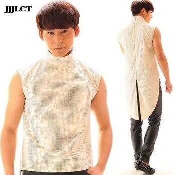 Tuxedo vest Korean version of the hollow vest costumes male singer nightclub personality bar DJ rock show costume