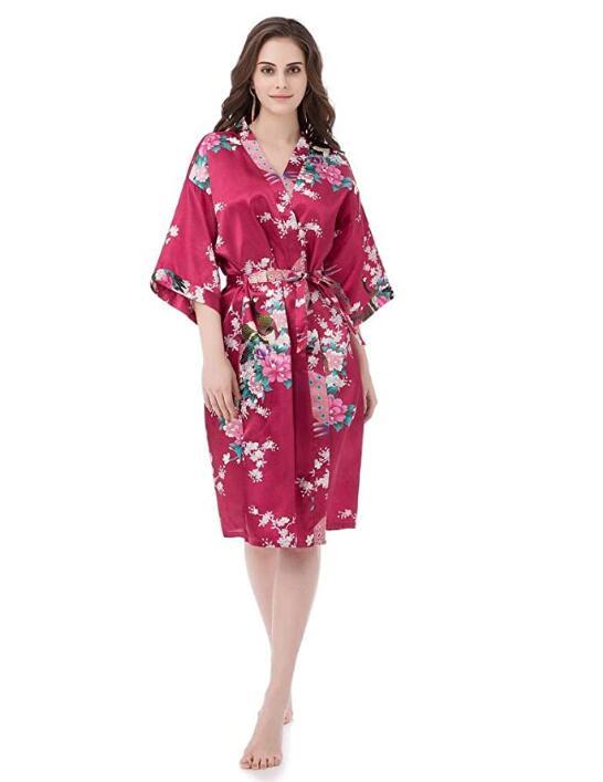 Sexy Bride Bridesmaid Wedding Dressing Robe Gray Lady Kimono Bath Gown Large Size XXXL Sleepwear Floral Nightgown Party Gift