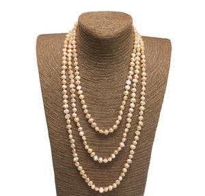 Длинное жемчужное ожерелье в стиле барокко, ожерелье из натурального пресноводного жемчуга, белый, розовый, фиолетовый, серый, черный цвет н...