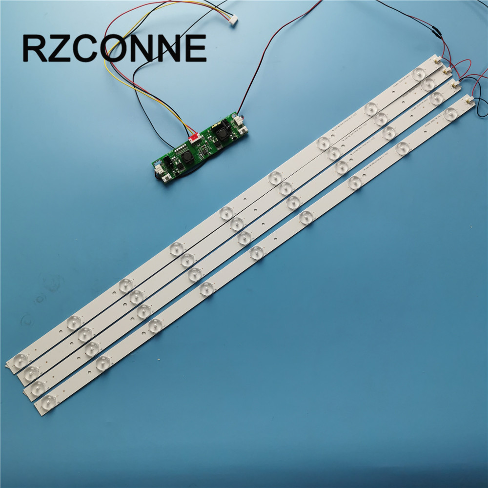 630mm LED Backlight Lamps kit Aluminum Board w/ Optical Lens Fliter for <font><b>32inch</b></font> TV <font><b>Monitor</b></font> 4pcs/6pcs LED strips + driver board image