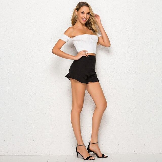 Summer Women Baech Shorts Ruffled High Waist Short Female Sexy Loose Wide Leg Short Femme Elastic Waist Belt Beach Shorts 5
