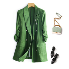 Spring Summer Women Green Blazer Double-Breasted Cotton linen suit