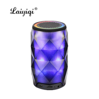 Laiyiqi Diamond Crystal Cans Colorful light bt Bluetooth portable Speaker LED Pulse bocina altavoz portatil de gran potencia mp3