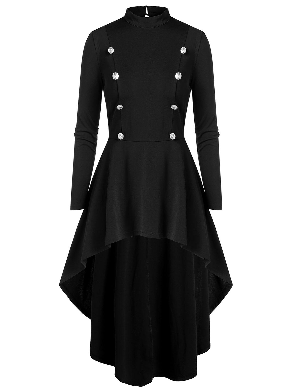ROSEGAL Plus Size Fall Winter Gothic Coat Dress Women High Low Outerwear Fashion High Neck Long Shirt Tops Retro Overcoat Trench