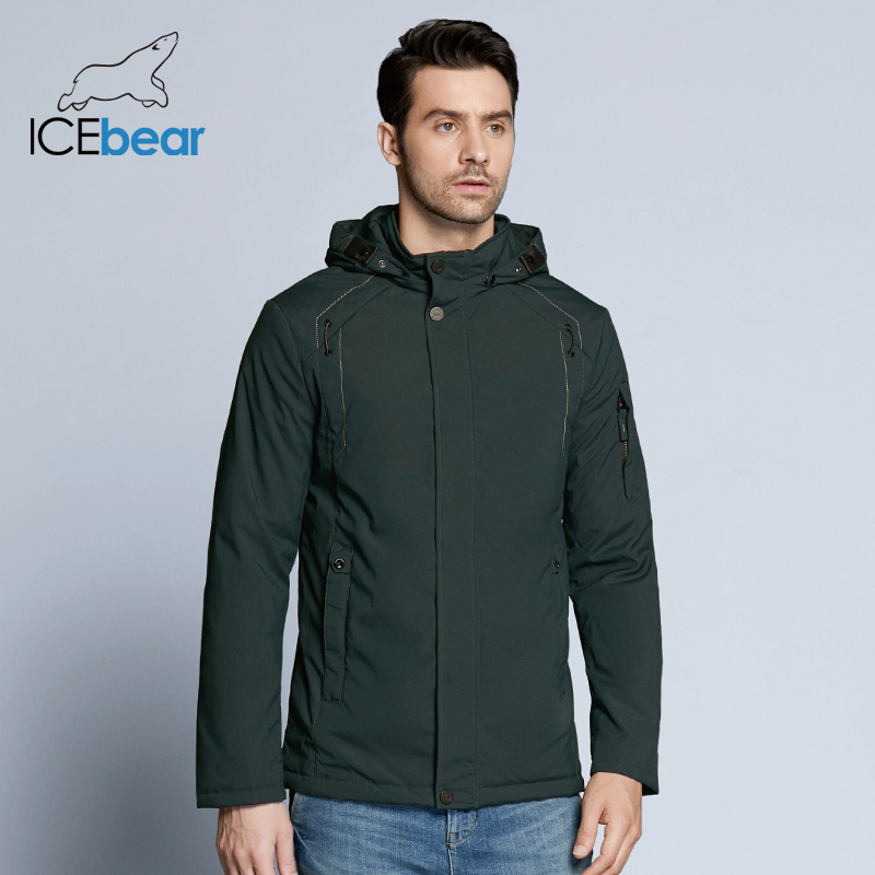 ICEbear 2019 New Autumn Men's Coats Windbreaker Warm Apparel Cotton Padded Detachable Hat Brand Hooded Man Jacket MWC18120D