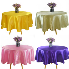 Satin Tablecloth Round Christmas-Party Birthday Wedding Home-Decor Solid-Color for 145cm