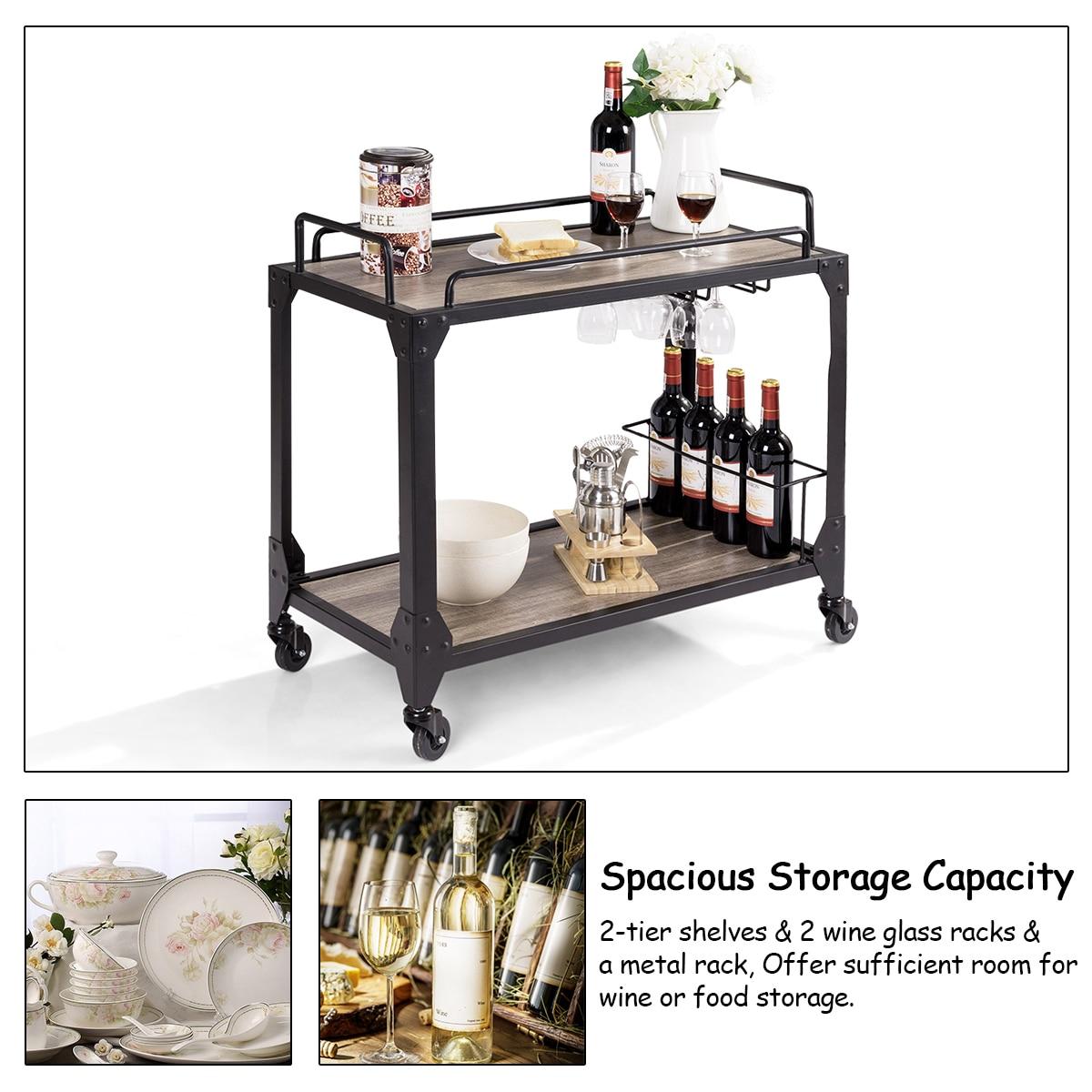 wood serving cart with wine holder glass hanger