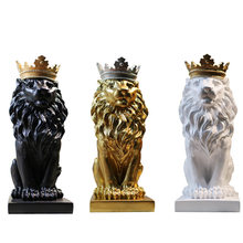 Nordic Crown Lion Ornaments Modern Luxurious Resin Living Room Desktop Beautifu Figurines Sculptur Home Decoration Crafts