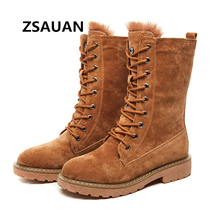ZSAUAN Winter Women Snow Boots Fashion Genuine Leather Round Toe Womens Middle Tube High Top Female Girl Shoes Warm