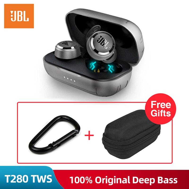 Jbl t280 tws bluetooth fones de ouvido sem fio com caso carregamento esporte correndo música ipx5 à prova dwaterproof água fone com microfone