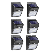 1-6Pcs 40LEDs Motion Sensor Solar Light Outdoor Garden Decoration Fence Stair Pathway Yard Sunlight Solar LED Wall Lamp