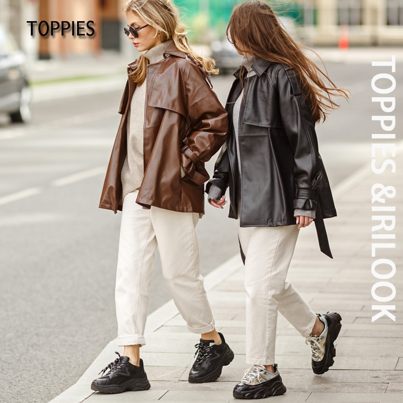 Toppies 2021 Fashion black faux leather jacket Woman Button Belted Coat ladies outwear Female Jacket
