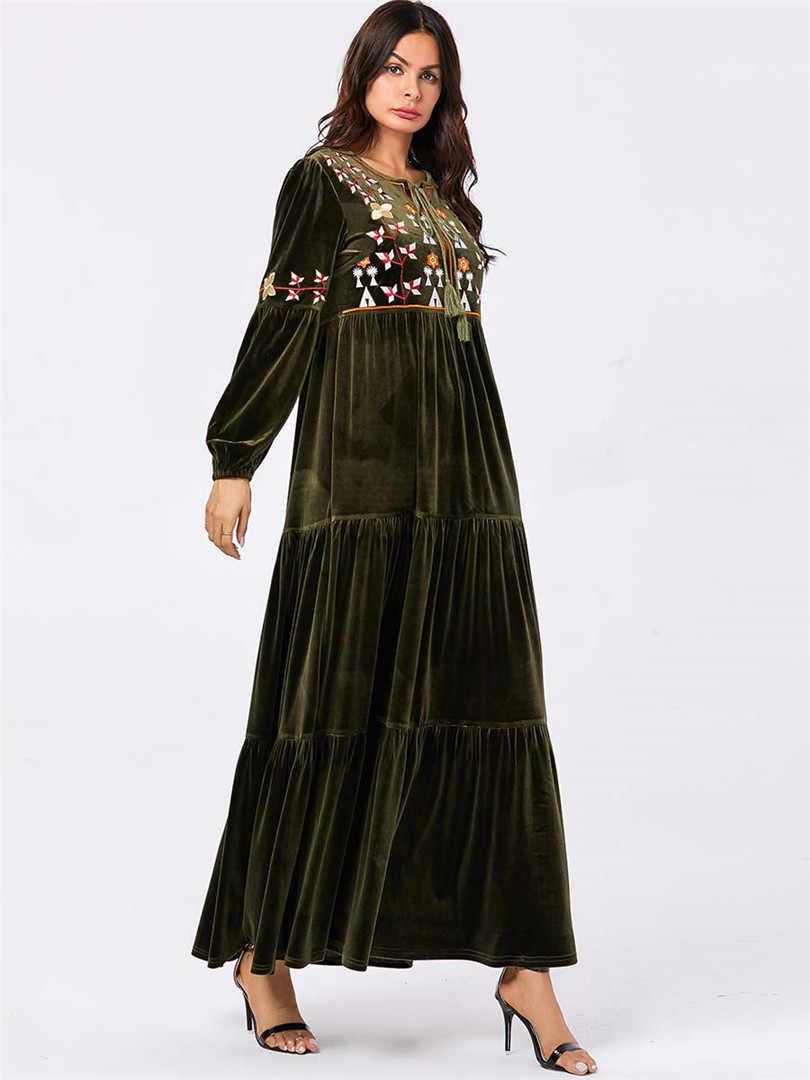 Arabian large size women's green long-sleeved plant embroidery casual robes gold velvet long skirt Muslim Dubai emirates dress