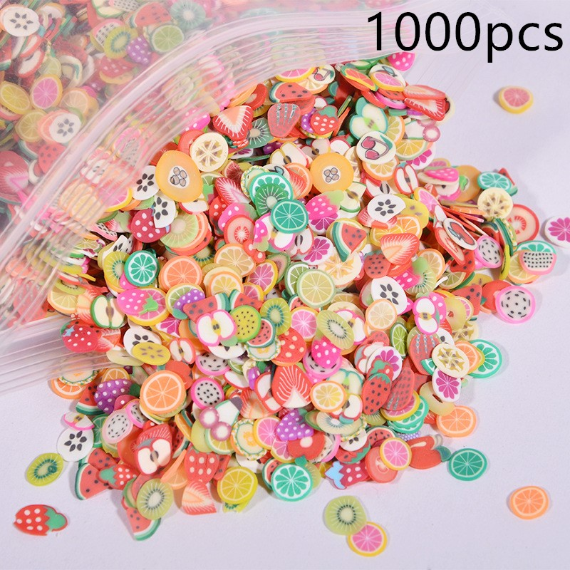 1000pcs Fruit Flowers Nail Art Filler For Slime Diy Design Fimo Cane Slices Decoration Charm Polymer Clay Kids Nail Supplies Toy