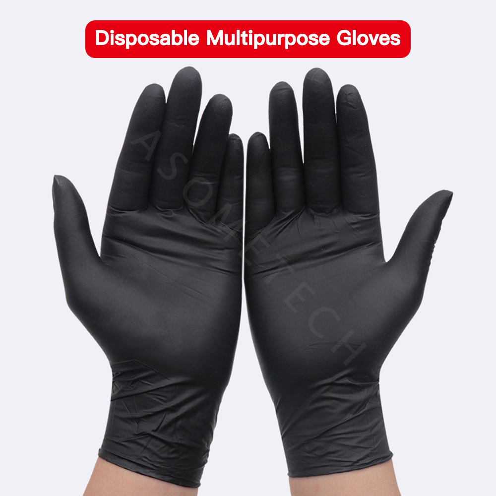 100pcs Disposable Safety Gloves Anti Infection Black Nitrile Rubber Gloves Household Cleaning Washing Mechanic Laboratory Gloves