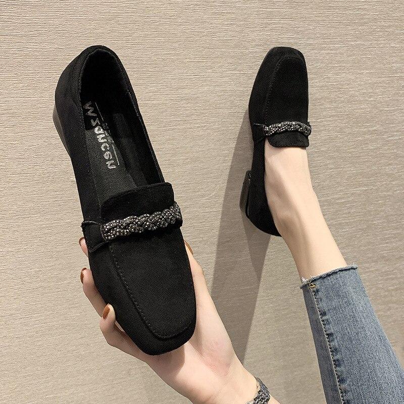 Туфли на каблуке, квадратный носок, плоская подошва, британский стиль, оксфорды, модные повседневные женские кроссовки, осенняя женская обувь с кристаллами