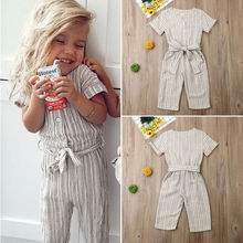 2019 New Kids Child Baby Girls Striped Romper Jumpsuit Playsuit Short Sleeve Outfit Summer Clothes