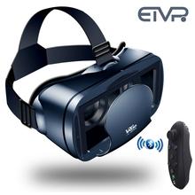 ETVR filmy 3D gry okulary VR Box Google karton wciągający zestaw słuchawkowy wirtualnej rzeczywistości z kontrolerem pasuje 5-7 calowy inteligentny telefon tanie tanio Brak Smartfony Lornetka Wciągające Virtual Reality Kontrolery Zestawy Pakiet 1