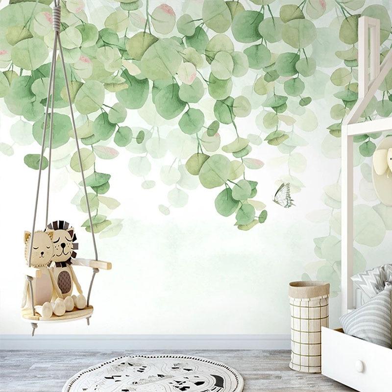 Custom Mural Wallpaper 3D Watercolor Green Leaf Wall Painting Living Room TV Sofa Bedroom Home Decor Papel De Parede 3D Frescoes