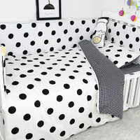 7Pcs Baby Bedding Set Cotton Cribs Bed Linens Kit For Boy Girl Cartoon Includes Pillowcase Bed Sheet Duvet Cover Without Filler