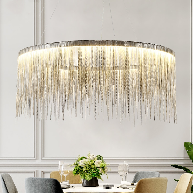 Postmodern Living Room Dining Room Chain LED Chandelier Nordic Creative Cloth Store  Tassel Chain Led Hanging Lamps