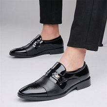 Big Size 38-48 Loafers Puntige Schoenen Mannen Formele Schoenen Leer Oxford Schoenen Mannen voor Bruiloft Business Flats Mode comfortabele(China)