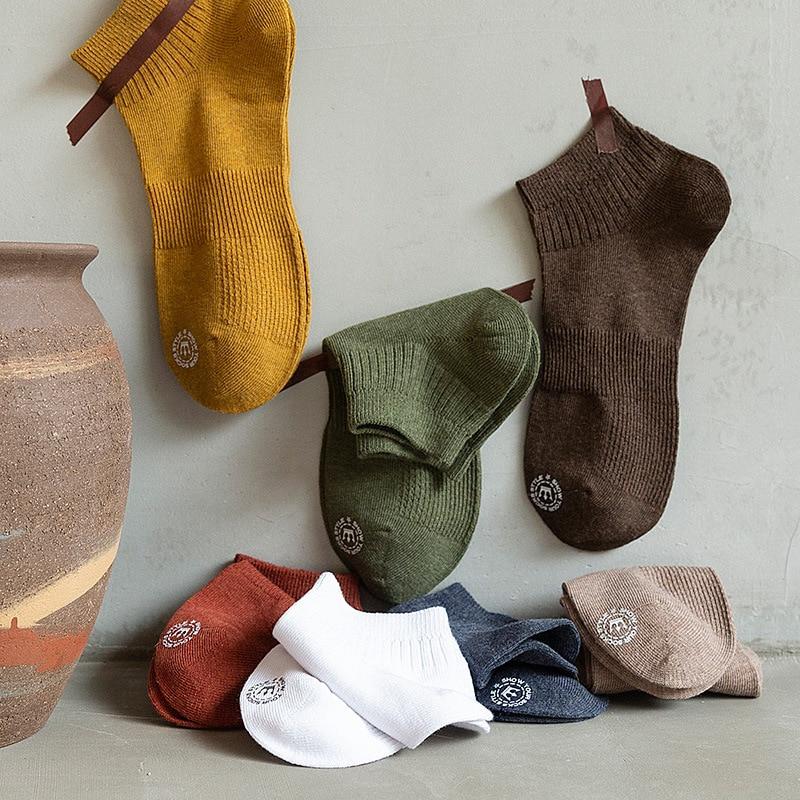 Men Socks 2020 New Spring Cotton Men Short Invisible Letter Casual Socks Breathable Summer Men Ankle Cotton Socks High Quality