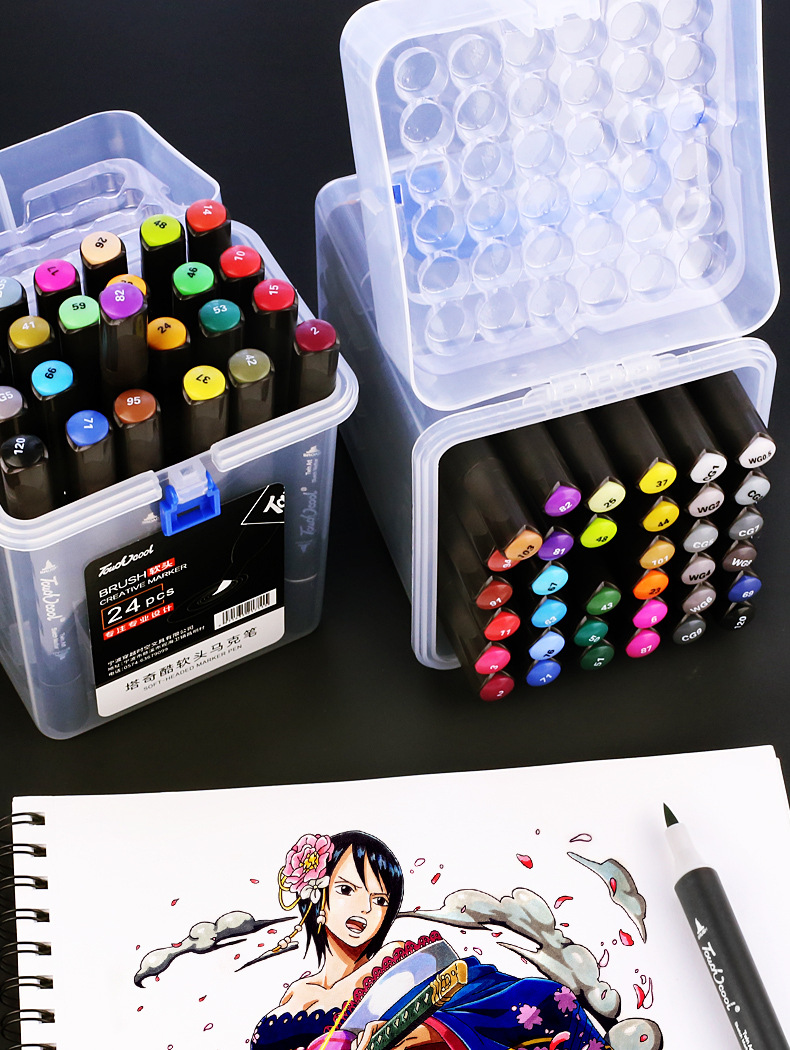 TOUCHNEW Permanent Markers Alcohol Ink Markers Brush Dual Tips Professional Drawing Marker Set Art Design 26/36/48Colors