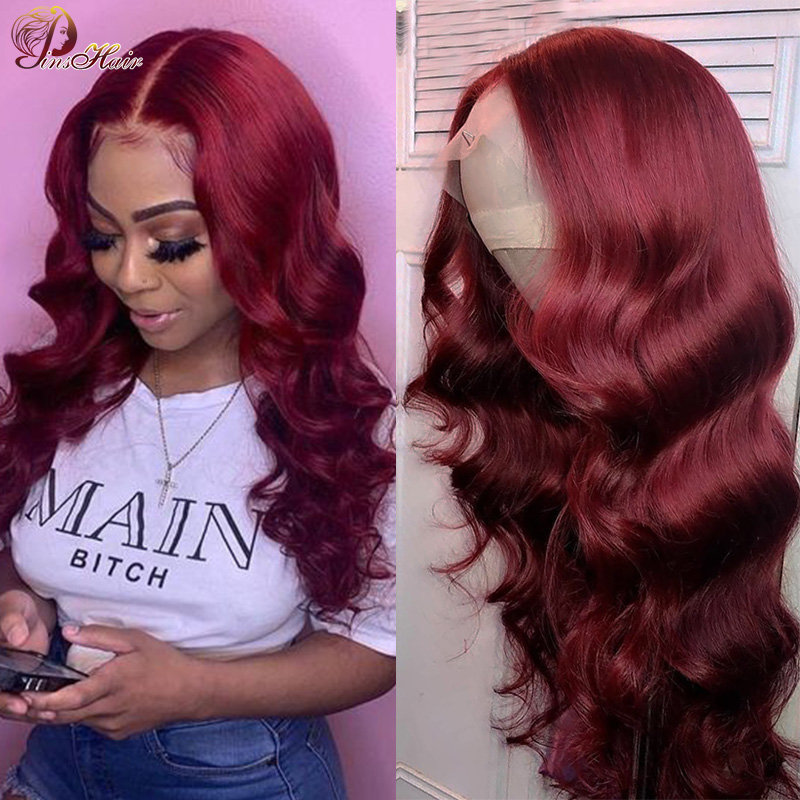 Pinshair Burgundy Lace Wig Red 99J Lace Front Human Hair Wigs For Black Women Peruvian Colored Lace Front Wigs Pre Plucked Remy