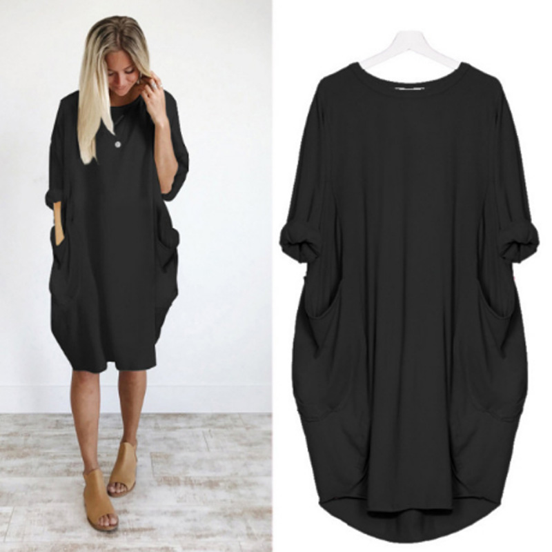 Hot Autumn Women Loose dresses with Pocket Dress Ladies Crew Neck Casual Long girl Tops Dress female Fashion Fat SIZE 6XL