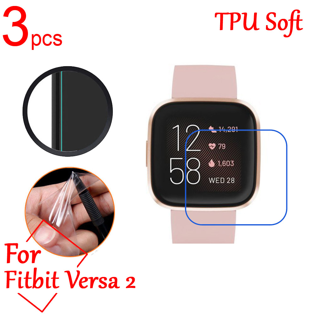 3pcs/lot Ultra Clear TPU Soft LCD Full Screen Protectors Guard Cover For Fitbit Versa 2 Band Sports Smart Watch Protective Film