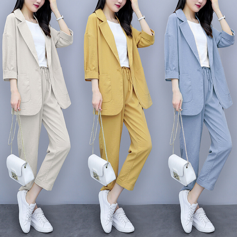 Women Autumn Summer Causal  2 Piece Setssuit Plus Size Solid Cotton And Linen Blazer Coat  Harem Pants Suits