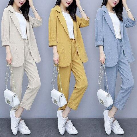 Women Autumn summer Causal  2 piece setssuit Plus Size Solid Cotton and linen Blazer Coat  Harem Pants Suits Pakistan